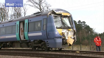 Front of train is bashed in following dangerous collision