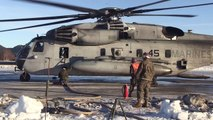 US Marines CH 53E Sea Stallions Refuel at Værnes Air Station, Norway