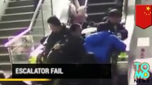 Escalator fail: Chinese shoppers tumble to the ground after escalator malfunction - TomoNews