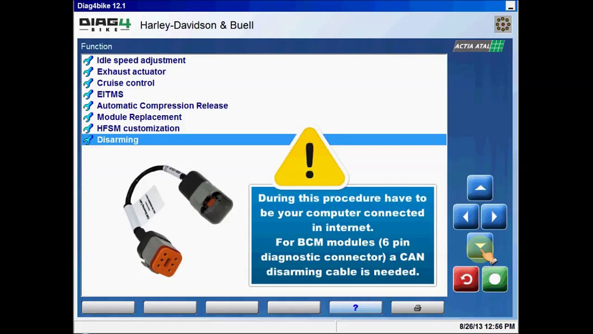 Toolbox, Disarming HFSM/BCM module-Disarming