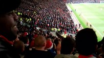 arsenal end celebrate rooney's pk miss at old trafford dec 2010-
