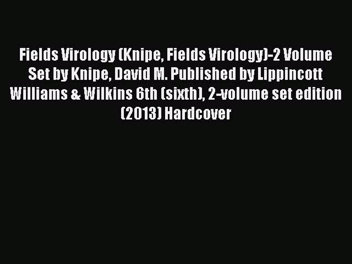 fields virology 6th edition free download