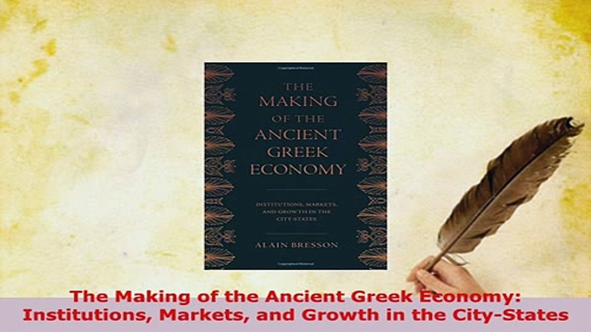 PDF  The Making of the Ancient Greek Economy Institutions Markets and Growth in the Read Full Ebook