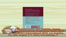 Download  Design User Experience and Usability Design Discourse 4th International Conference DUXU Free Books
