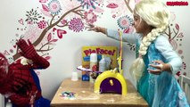 Real Life Superheroes Movie Spiderman vs Elsa Frozen PIE FACE CHALLENGE! LOL!!!