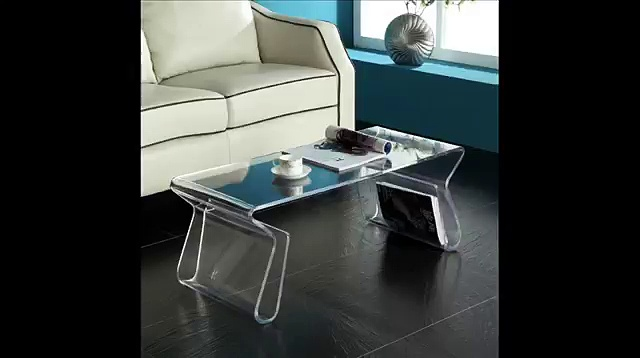 Magazine Coffee Table in Clear; Transparent Coffee Table, Unique Acrylic Clear Coffee Table