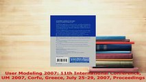 PDF  User Modeling 2007 11th International Conference UM 2007 Corfu Greece July 2529 2007  Read Online