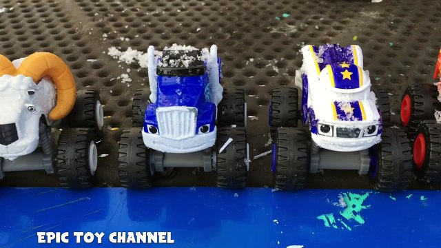 BLAZE and the MONSTER MACHINES Slide In Snow At Park with Monster Trucks a Blaze Toy Parody Video