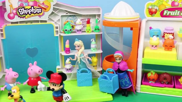 Shopkins Small Mart with Mickey Mouse and Peppa Pig Meets Frozen Elsa and Anna with Surprise Toys