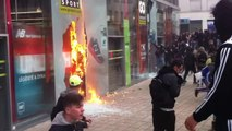 À Nantes, le 05 avril 2016, un magasin Go Sport est saccagé par des casseurs
