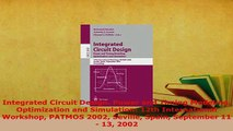 Download  Integrated Circuit Design Power and Timing Modeling Optimization and Simulation 12th  EBook