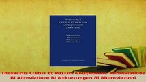 PDF  Thesaurus Cultus Et Rituum Antiquorum Abbreviations Bl Abreviations Bl Abkurzungen Bl Download Full Ebook