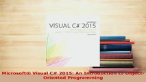 PDF  Microsoft Visual C 2015 An Introduction to ObjectOriented Programming  EBook