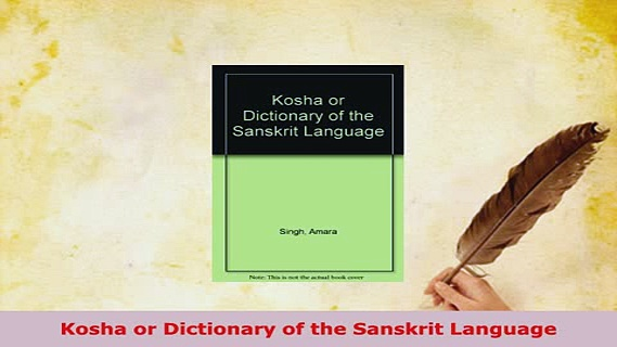 PDF  Kosha or Dictionary of the Sanskrit Language Free Books