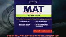 FREE PDF  Kaplan MAT 20072008 Edition Miller Analogies Test  DOWNLOAD ONLINE