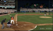 MLB 11: The Show - Jordan Schafer throws out runner at the plate, McCann dive tag
