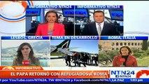 Papa Francisco se va de Lesbos con 12 refugiados sirios de religión musulmana