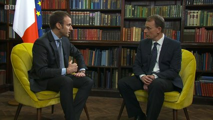 BBC News : Emmanuel Macron on EU Referendum and Hinkley Point