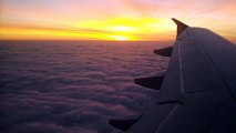 Beautiful sunset from airplane - From Budapest to Warsow