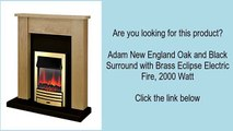 Adam New England Oak and Black Surround with Brass Eclipse Electric Fire, 2000 Watt