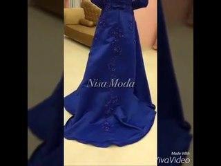 Nişanlık Elbise 2016-2017 Saks Mavisi Boncuk İşlemeli