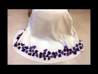 Yeni Sezon Tesettür Elbise Mor Çiçekli -Nisa Moda-