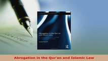 Download  Abrogation in the Quran and Islamic Law Free Books
