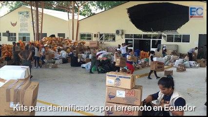 Acopio de kits de ayuda para los damnificados del terremoto