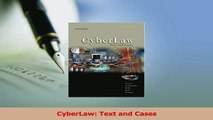 PDF  CyberLaw Text and Cases Read Online