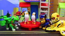 Paw Patrol Toy Air Rescue Rocky Trains Penguins to Fly and Saved by Air Pups Chase and Marshall Toys