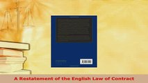 PDF  A Restatement of the English Law of Contract  EBook