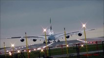 Airbus A380 vs Boeing 747 Crosswind Storm Landings Takeoffs Touch and GO