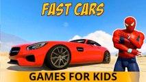 BLACK SPIDERMAN et Cars Cartoon FAST for Kids 3D Comptine avec Action Chansons enfantines