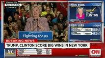Les victoires de Trump et Clinton dans la primaire new-yorkaise, vues par les télés US