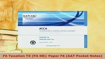 PDF  F6 Taxation TX FA 08 Paper F6 AAT Pocket Notes PDF Book Free