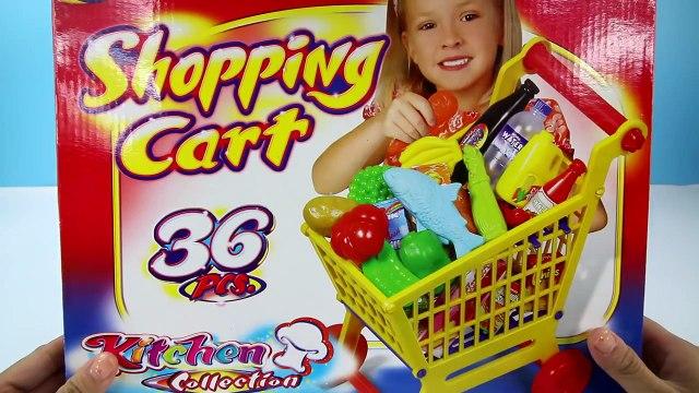 Disney Toys Fan GROCERY SHOPPING CART Play Set Supermarket Pretend Play Food Milk Fruits Fish Vide