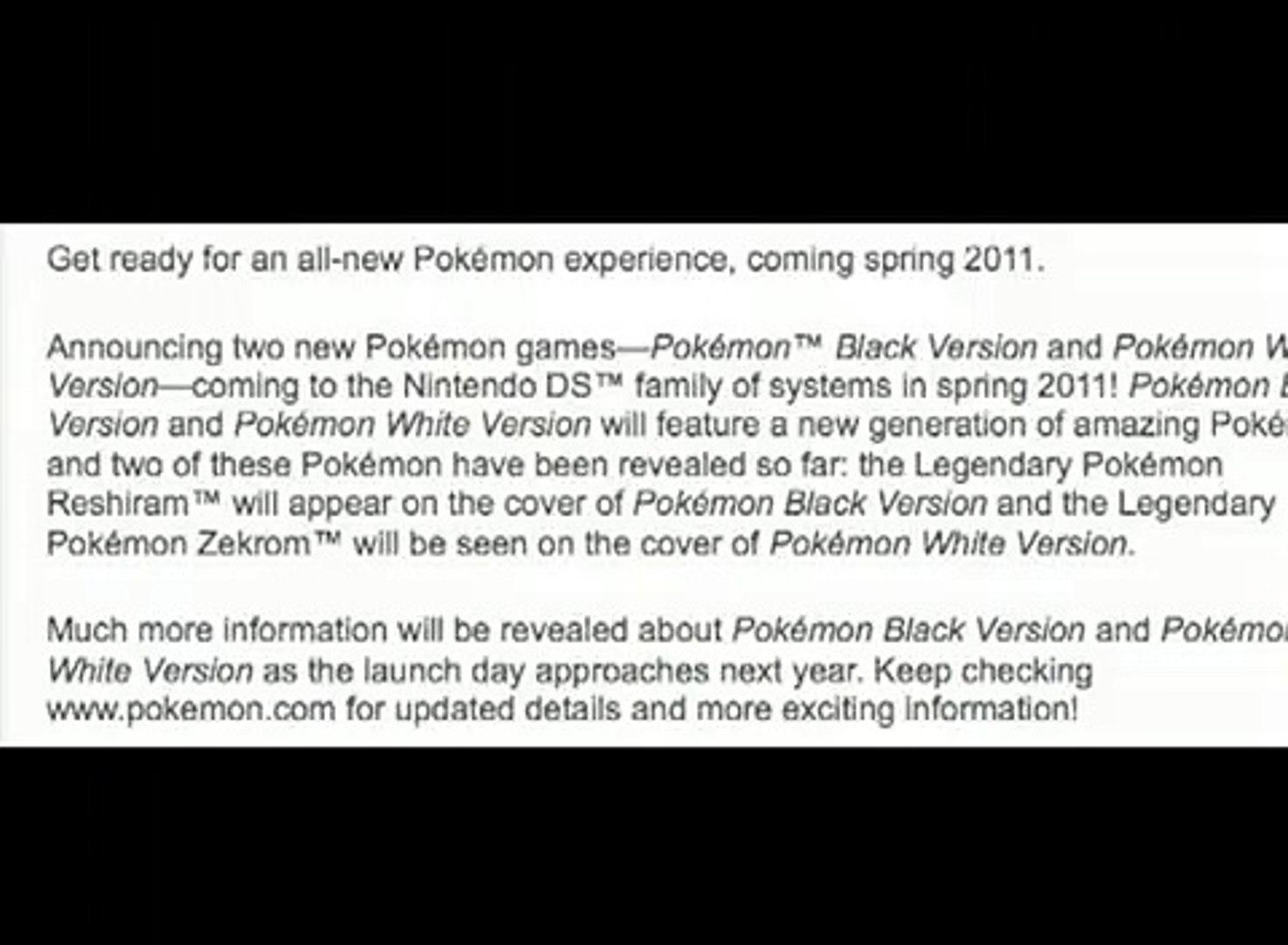 Pokemon black and white legendaries