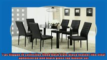 best produk   7 pc Riggan IV collection lined back style black leather like vinyl upholstered and black