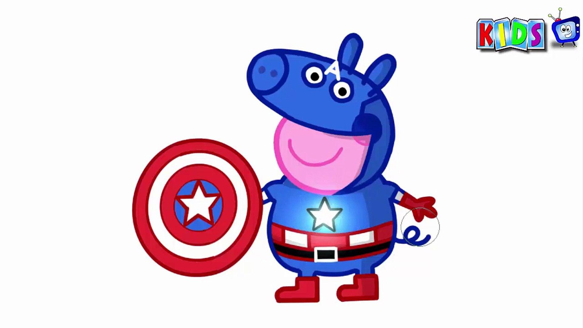 Familia Peppa Pig Capitao America Pintar Desenho Captain Os