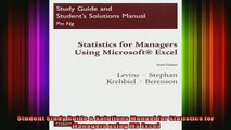 PDF Download) Statistics for Managers using MS Excel (6th Edition