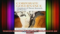 PDF Download Corporate Governance A Synthesis of Theory