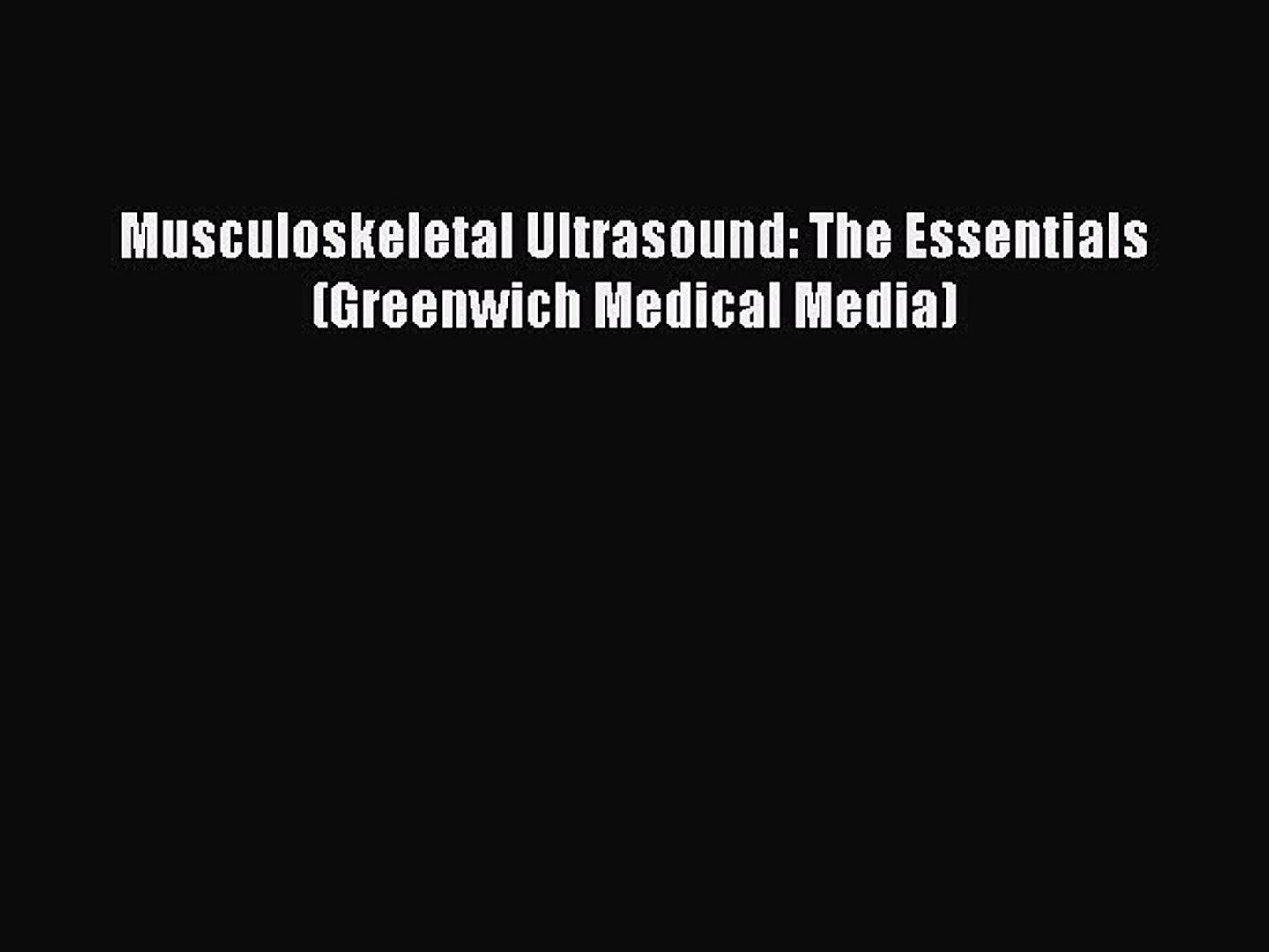 musculoskeletal ultrasound book free download