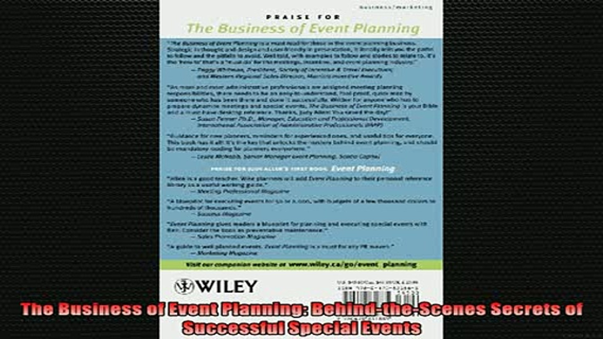 Downlaod Full PDF Free  The Business of Event Planning BehindtheScenes Secrets of Successful Special