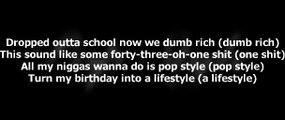 Drake feat. The Throne - Pop Style [Lyrics paroles] 2016
