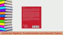 PDF  Universal Algebra Fundamentals and Selected Topics  EBook