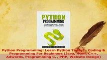 PDF  Python Programming Learn Python Today  Coding  Programming For Beginners Java Html  EBook