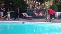 Quand Maman essaie le tricycle de son enfant au bord de la piscine... FAIL