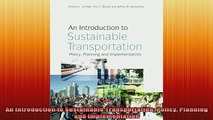READ book  An Introduction to Sustainable Transportation Policy Planning and Implementation Free Online