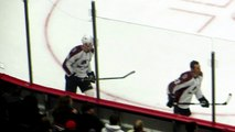 Carl Soderberg during pre-game warm-up at the Avalanche _ Senators hockey game