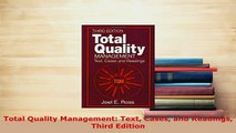Download  Total Quality Management Text Cases and Readings Third Edition Download Online